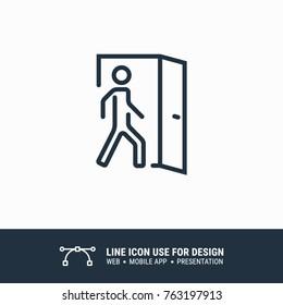 Icon coming, enter, entrance, house door, room graphic design single icon vector illustration