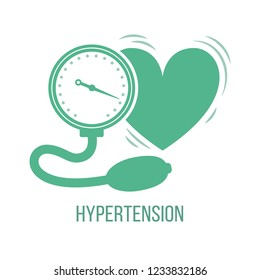 Icon of common symptom of panic disorder - hypertension. Vector