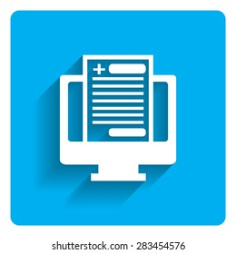 Icon of computer monitor and health record document on bright blue background