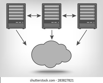 Icon of computer servers and cloud computing as a concept