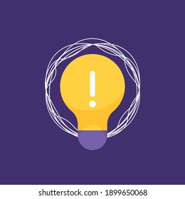 an icon concept about an idea or solution, problem solving, innovation. illustration of a lamp, exclamation point, rope or tangled thread. flat style. vector design element