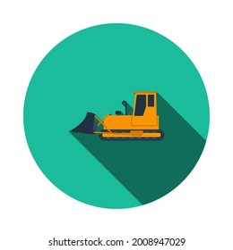 Icon Of Construction Bulldozer. Flat Circle Stencil Design With Long Shadow. Vector Illustration.