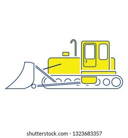 Icon of Construction bulldozer. Thin line design. Vector illustration.