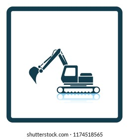 Icon of construction excavator. Shadow reflection design. Vector illustration.