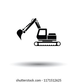 Icon of construction excavator. White background with shadow design. Vector illustration.