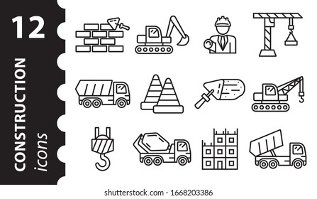 Icon construction. Vector illustration in flat style. Repair linear symbol