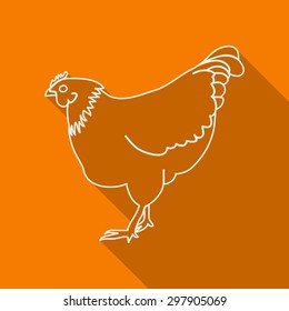 Icon Contour chicken. Flat style, long shadows. Vector illustration.