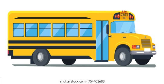 Icon of conventional-style yellow school bus used for student transport isolated vector illustration on white background. View from left cartoon illustration