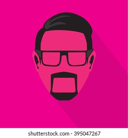 Icon cool man in pink color.