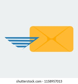 Icon of the covert. The icon for sending a message or an email. Vector image.