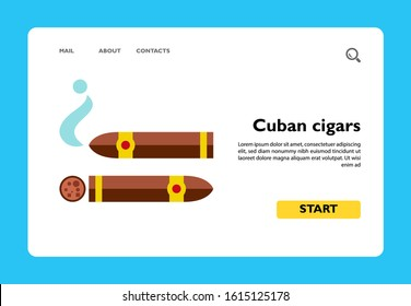 Icon of Cuban cigars. Tobacco, smoking, luxury. Addiction concept. Can be used for topics like healthcare, lifestyle, nicotine