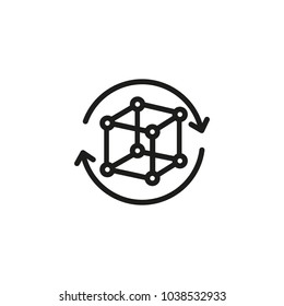 Icon of cube with connected dots. Rotation, circle, geometry. Futuristic concept. Can be used for topics like cyberspace, design thinking, digital industry