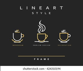 Icon cups. Emblem line art design. Elegant brochure for restaurant and coffee. Design menu