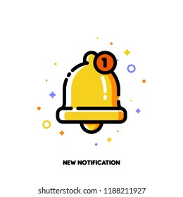 Icon of cute golden bell for new notification concept. Flat filled outline style. Pixel perfect 64x64. Editable stroke