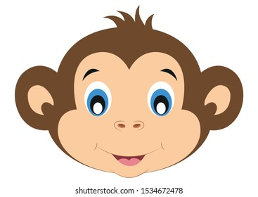Icon of Cute Monkey Face. Animals. Vector of Cute Monkey Face