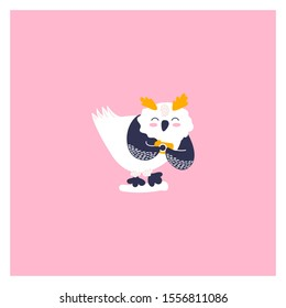 Icon of cute owl. Character hand drawn style for happy new year card. Funny animal takes pictures.
