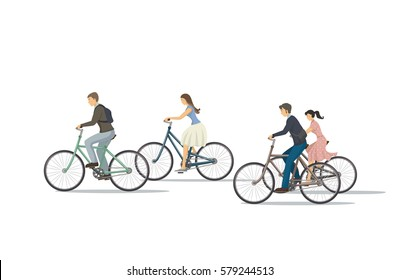 The icon of cyclist. The woman is riding the bike. The man is riding the bike. Group of people is biking. Person rides bike. The elements of transport infrastructure. The concept of active life.