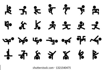 Icon dancing breakdance or hip-hop. Vector Illustration.