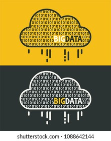 Icon Data cloud filled with 0 and 1 digits. Text: Big Data.
