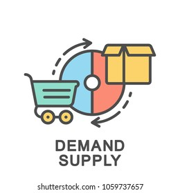 Icon demand supply. The diagram of supply and demand in the commodity market. The thin contour lines with color fills.