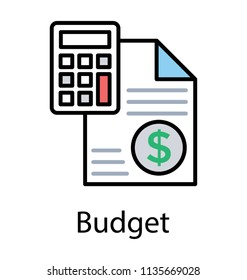 An icon depicting calculator and a dollar stamped paper, concept for budget