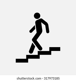 icon descent down the stairs, signpost, fully editable vector image