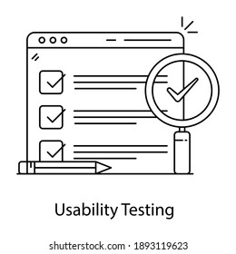 An icon design of usability testing, line vector style