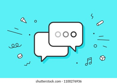 Icon of dialog messages. Two white bubbles messages with text. Icon of business dialog isolated on blue mint background and explosive memphis graphic element. Vector Illustration