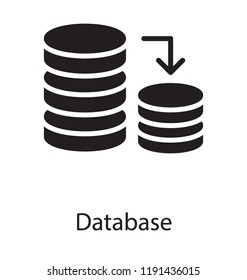 Icon of disc with arrows depicting database