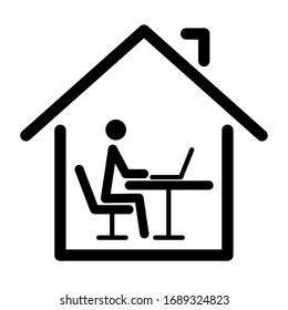 Icon for distant work or distance learning at home during the pandemic. Vector illustration.