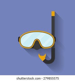 Icon of diving mask. Flat style