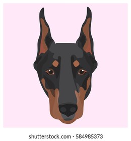Icon with doberman dog. Vector illustration in flat style.