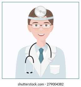 Icon doctor. Nurse symbol isolated on a white background. Medical woman and man. Vector illustration of  doctor treating ear, nose and throat.