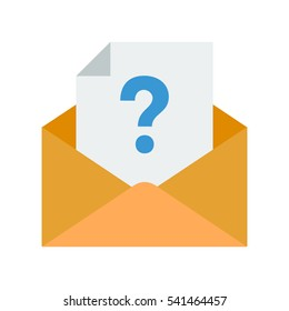 Icon with a document with a question mark in an envelope symbolizing having an enquiry