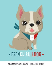 Icon dog breed French Bulldog. Frenchie  Puppy is cream colored. Text: French Bulldog.