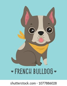 Icon dog breed French Bulldog. Frenchie Puppy of chocolate color. Text: French Bulldog.