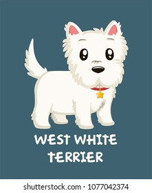 Icon of a dog of breed West White Terrier. Text: West White Terrier.