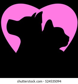 icon dog and cat heart