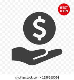 icon dollar in hand. Careful storage money. Line vector isolated. Minimalism style coin icon. Isolated flat style. For mobile apps payment casino web site logo sale coin bank business.