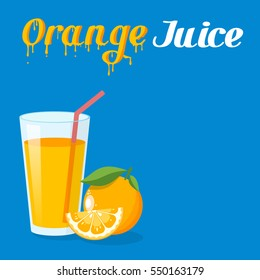 Icon of drink with fruit. Orange on blue background.