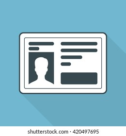 Icon driver's license for driving a vehicle. Flat style. Graphic vector illustration.