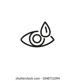 Icon of dry eye. Tired eye, saline-containing drops, medication, artificial tear. Optometry concept. Can be used for topics like ocular routine, allergy, medicine