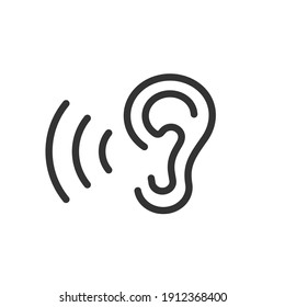 Icon of the ear with sound waves. Listening to music, audio. Restoration of hearing and sale of hearing aids.