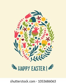 Icon Easter card with egg from flowers. Text: Happy Easter!