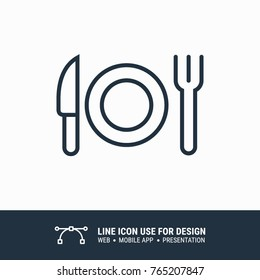 Icon eating, fork, knife graphic design single icon vector illustration