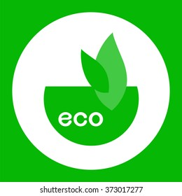 Icon , eco , element for design , stylized green leaves