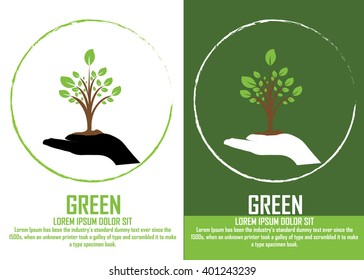 Icon ecology : tree green.ecology info graphics collection - sustainable concept - charts, symbols, graphic elements