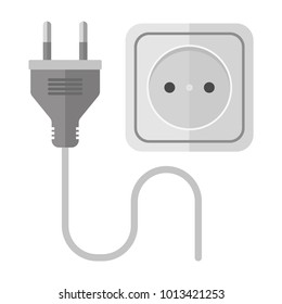 Icon of an electric socket with a plug. Power socket. Modern vector illustration isolated background.