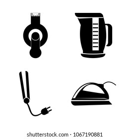 icon Electronic with tea, machine, flash, card and iron