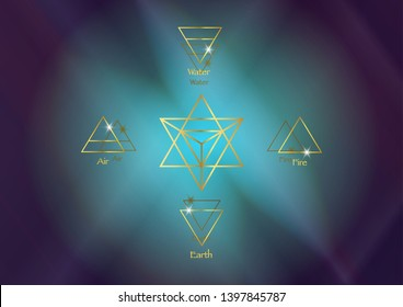 icon elements : Air Earth Fire Water and Merkaba Star tetrahedron, Wiccan divination symbols. Ancient occult gold symbols, south east north west, vector illustration colorful cosmos space background